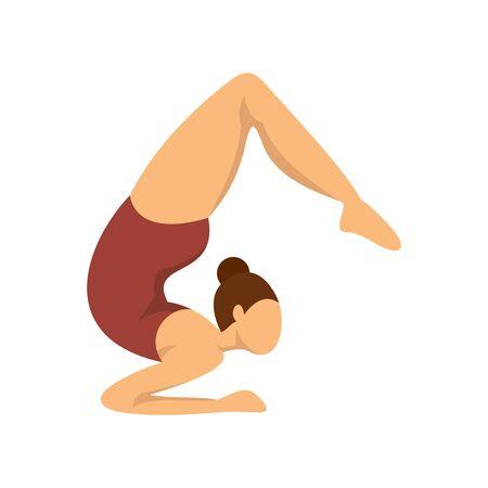 Girl gymnastics icon, flat style Иллюстрация