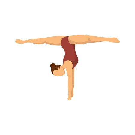 Girl stay on hands gymnastics icon, flat style