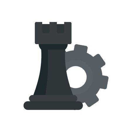 Gear logic icon, flat style