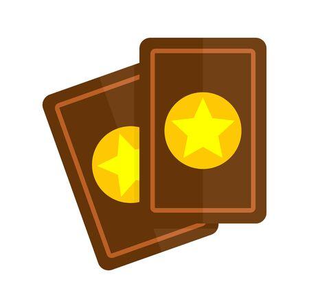 Magic cards icon, flat style