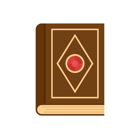 Magic old book icon. Flat illustration of magic old book vector icon for web design