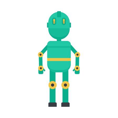 Metal humanoid icon, flat style Иллюстрация