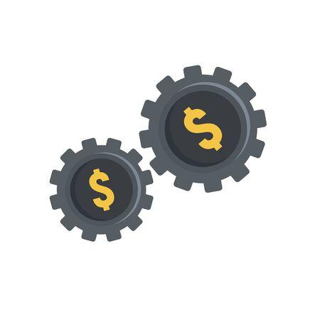 Money gear icon, flat style Иллюстрация