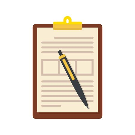 Sign document icon, flat style