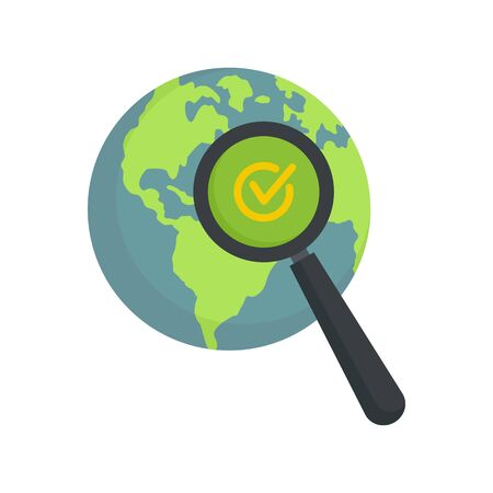 Global market search icon. Flat illustration of global market search vector icon for web design Çizim