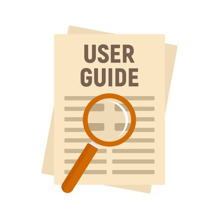 User guide papers icon, flat style