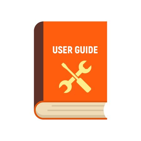 User guide book icon, flat style Иллюстрация