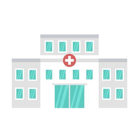 Hospital building icon. Flat illustration of hospital building vector icon for web design Illusztráció