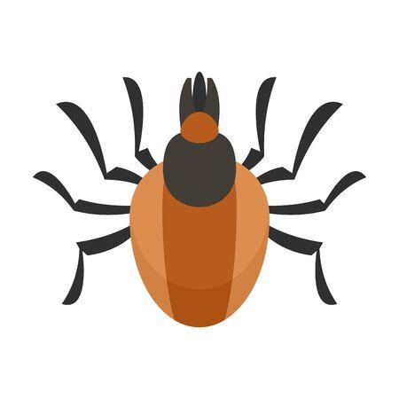 Parasite mite icon, flat style