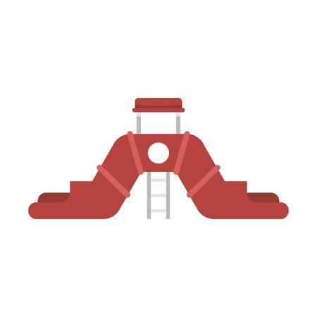 Double aquapark slide icon. Flat illustration of double aquapark slide vector icon for web design Stock Vector - 131823095