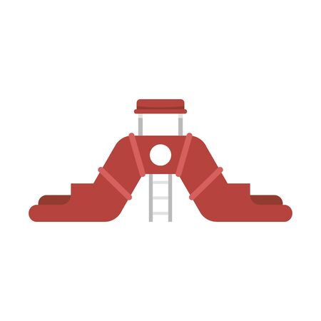Double aquapark slide icon. Flat illustration of double aquapark slide vector icon for web design