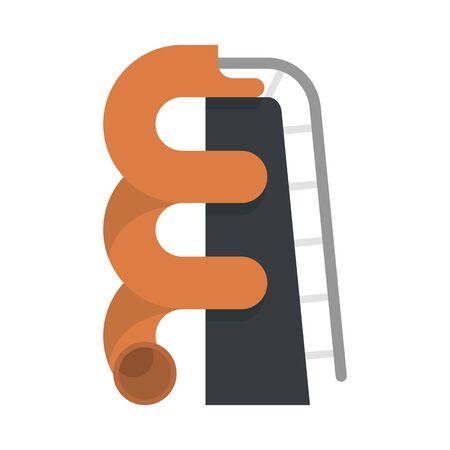Plastic waterpark pipe icon. Flat illustration of plastic waterpark pipe vector icon for web design