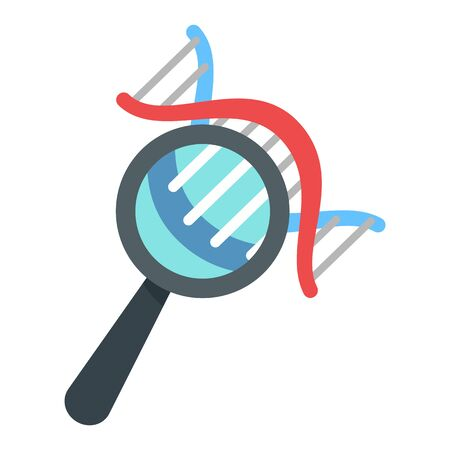 Dna under magnify glass icon, flat style