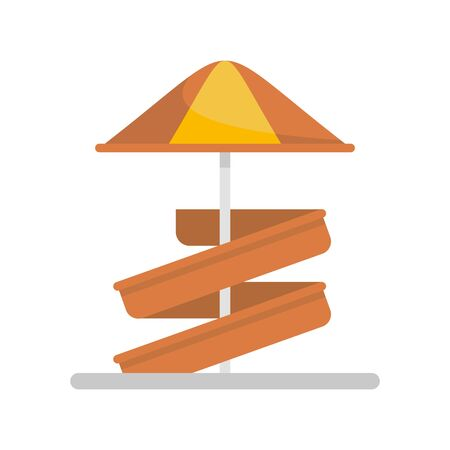 Aquapark kid umbrella slide icon. Flat illustration of aquapark kid umbrella slide vector icon for web design