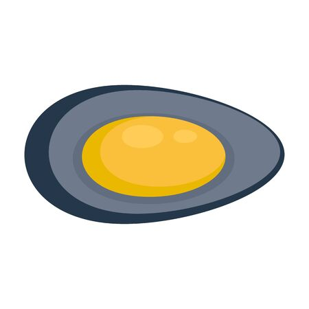 Lunch mussels icon, flat style