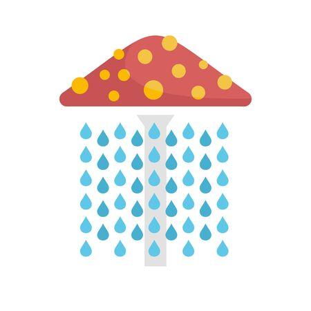 Waterpark umbrella shower icon, flat style Illustration