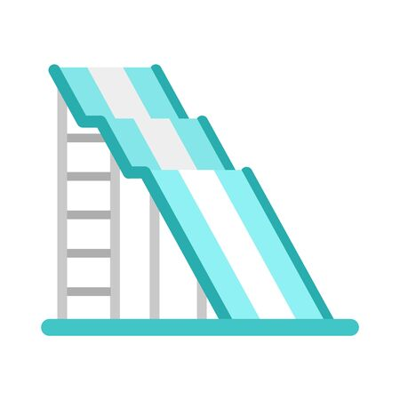 Wave waterpark slide icon, flat style