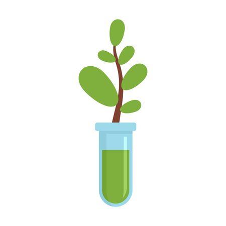 Gmo plant tube icon, flat style