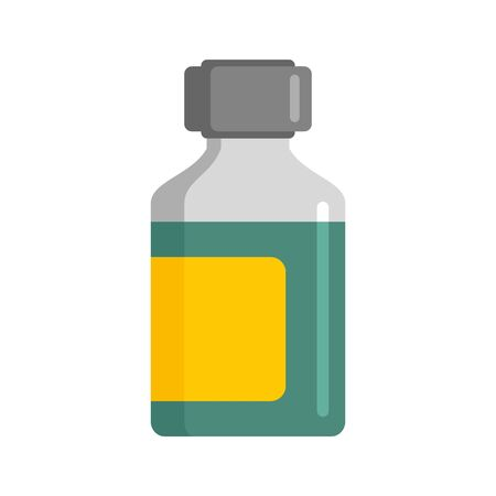 Mint syrup bottle icon, flat style