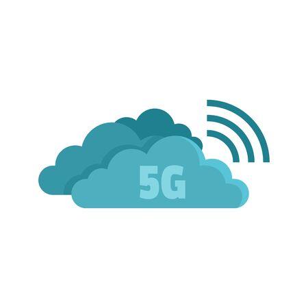 5G cloud technology icon, flat style