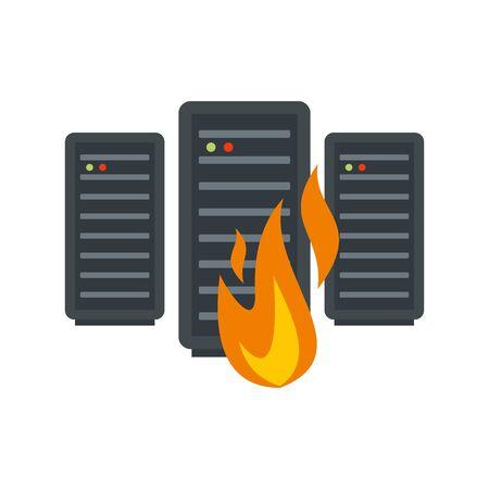 Server firewall icon, flat style Ilustrace