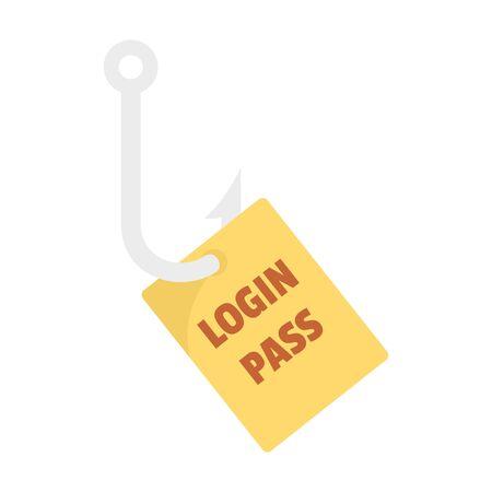 Login pass fishing icon, flat style