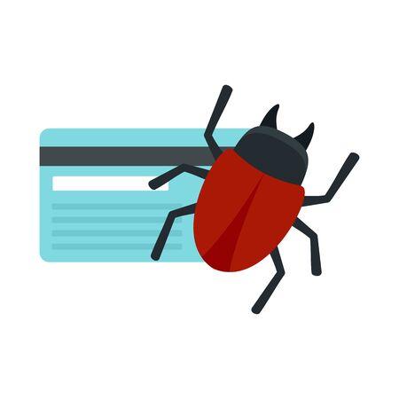 Credit card bug icon, flat style Illusztráció