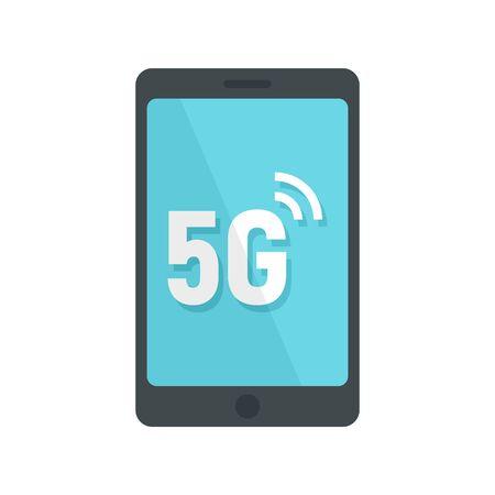 5g smartphone icon, flat style Çizim