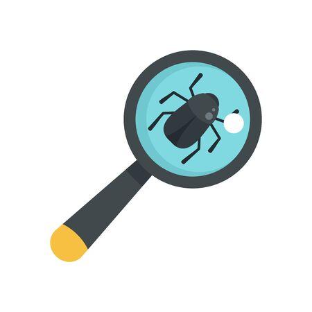 Virus bug icon, flat style