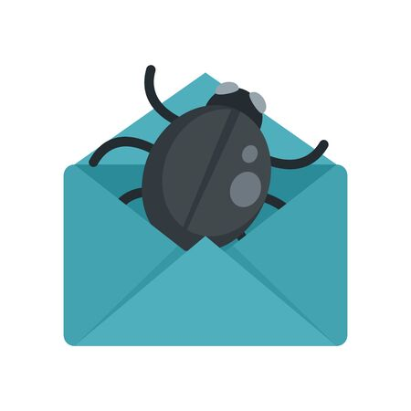 Mail bug icon, flat style