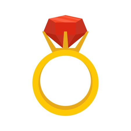 Gemstone ring icon, flat style Banque d'images - 131869044