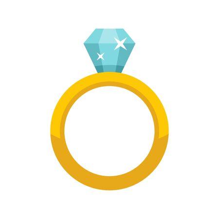 Luxury diamond ring icon, flat style