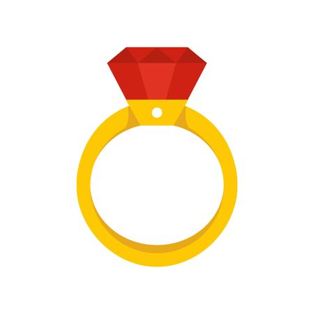 Gold diamond ring icon, flat style