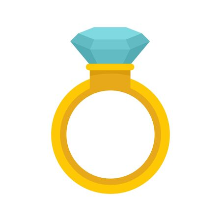 Crystal ring icon, flat style