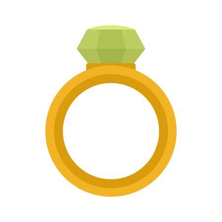 Crystal gemstone ring icon, flat style