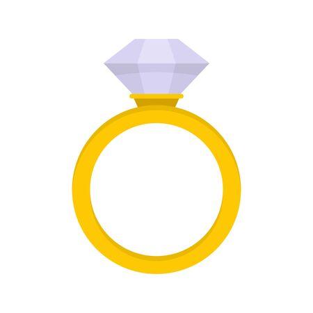 Ceremonial diamond ring icon, flat style