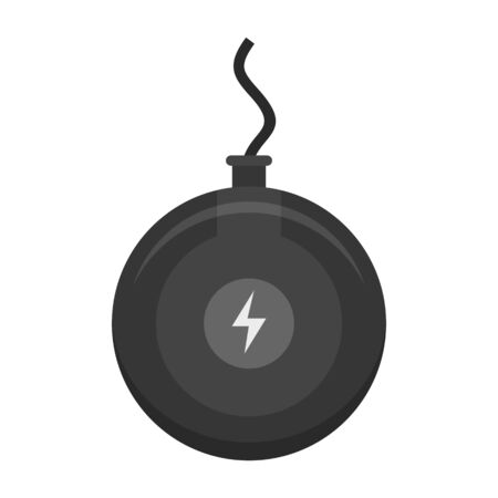 Round wireless charger icon, flat style