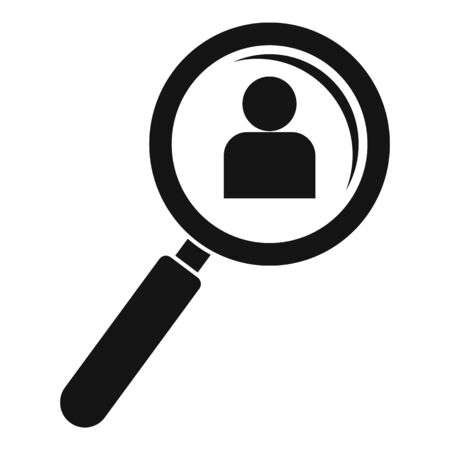Admin magnify glass icon, simple style Ilustrace