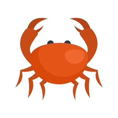 Sea crab icon. Flat illustration of sea crab vector icon for web design