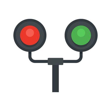 Railway traffic lights icon. Flat illustration of railway traffic lights vector icon for web design