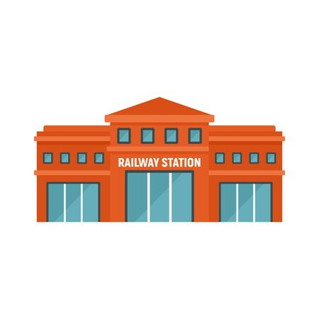 Railway station icon. Flat illustration of railway station vector icon for web design