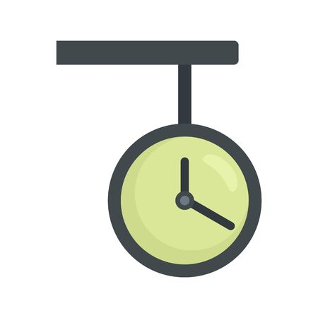 Railway station clock icon. Flat illustration of railway station clock vector icon for web design Ilustração