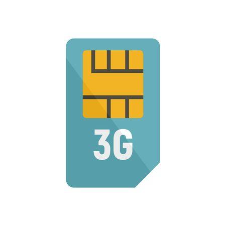 3g sim card icon. Flat illustration of 3g sim card vector icon for web design