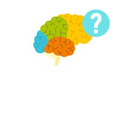 Human brain question icon. Flat illustration of human brain question vector icon for web design Banque d'images - 131930649