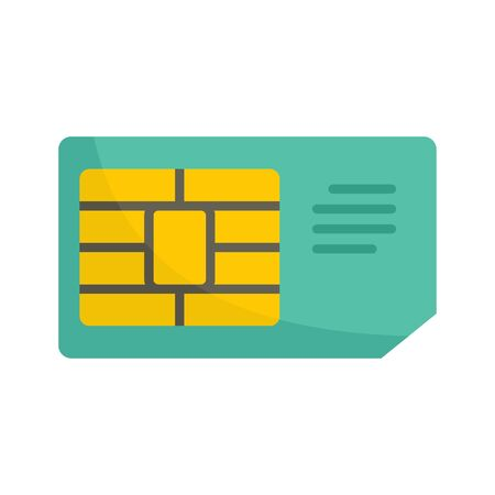 Business sim card icon. Flat illustration of business sim card vector icon for web design