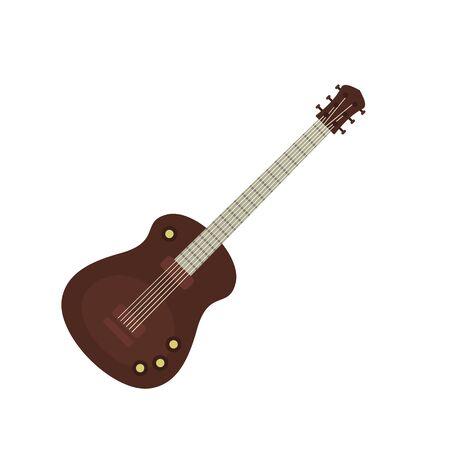 Guitar instrument icon, flat style Illustration