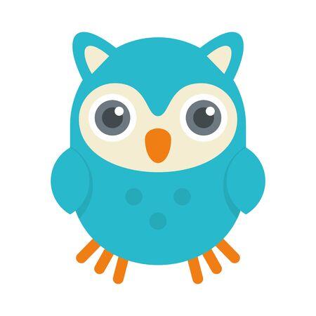 Cute kid owl icon, flat style