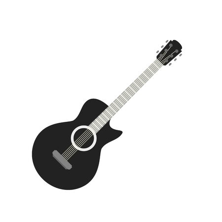 Guitar icon, flat style Stock Vector - 131944743