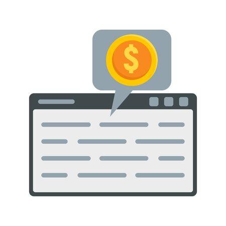 Web page finance icon, flat style Çizim