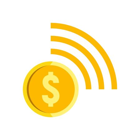 Contactless payment icon, flat style
